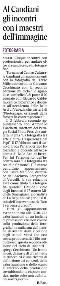 """Articolo apparso su """"IL GAZZETTINO"""" di Venezia il 12 gennaio 2018 - Articolo apparso su """"IL GAZZETTINO"""" di Venezia il 12 gennaio 2018"""