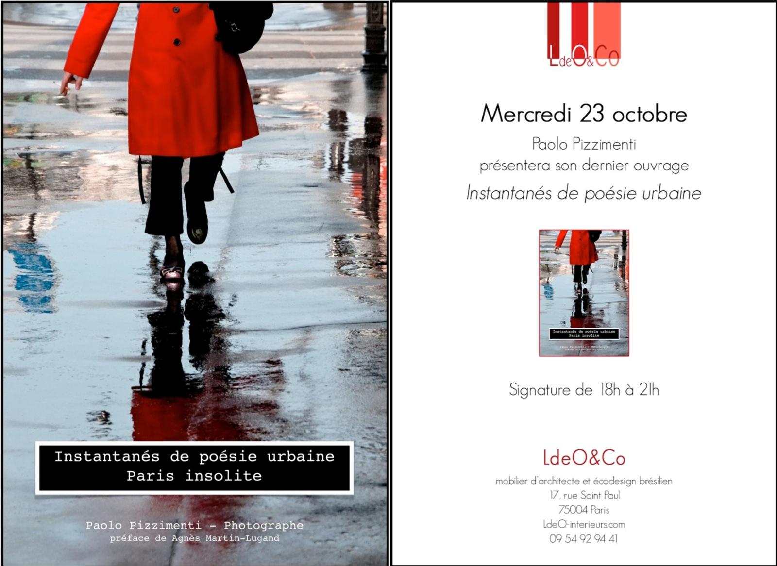 """Présentation et signature livre """"Instantanés de poésie urbaine - Un Paris insolite """""""